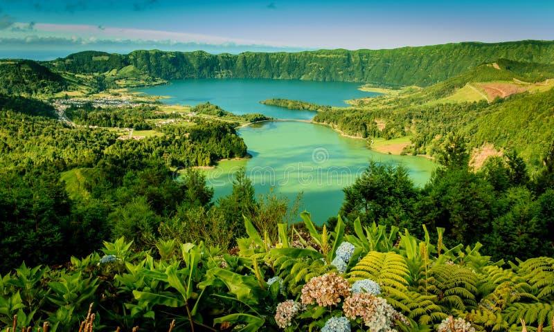 Άποψη Sete Cidades στο νησί του Miguel Σάο, Αζόρες, Πορτογαλία στοκ εικόνες με δικαίωμα ελεύθερης χρήσης