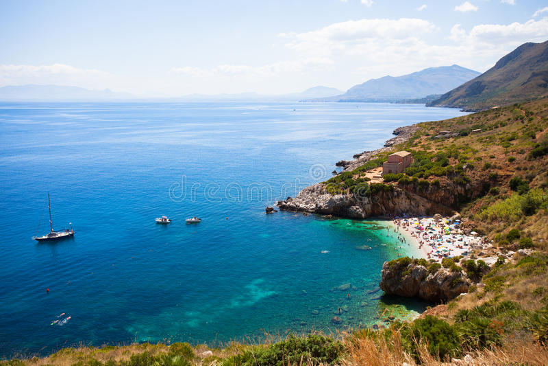 Άποψη Zingaro της επιφύλαξης φύσης, Σικελία στοκ φωτογραφία