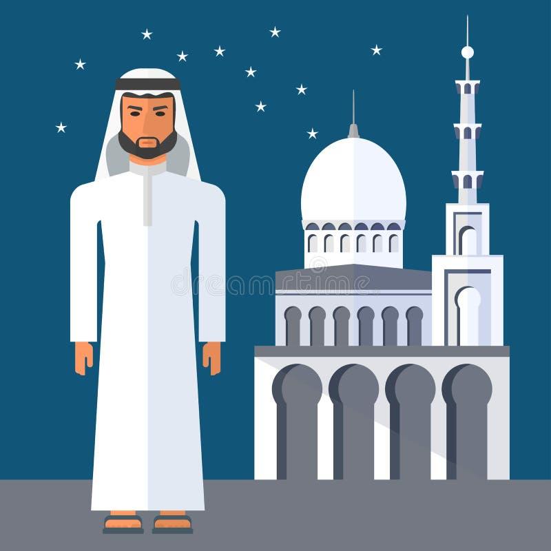 Άραβας κοντά στο μουσουλμανικό τέμενος ελεύθερη απεικόνιση δικαιώματος