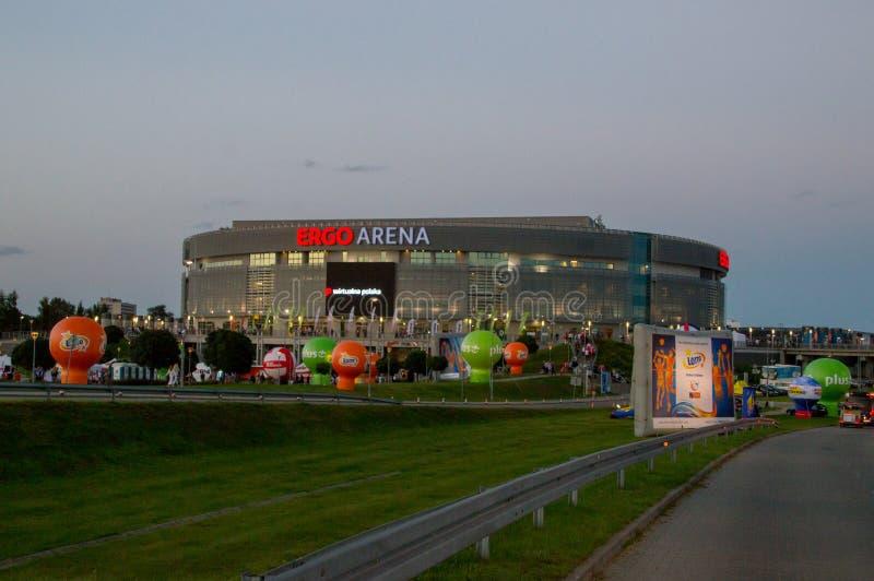 Άρα αθλητισμός χώρων και αίθουσα ψυχαγωγίας πριν από το mech Εσθονία εναντίον των ευρωπαϊκών ατόμων πρωταθλήματος πετοσφαίρισης τ στοκ εικόνα με δικαίωμα ελεύθερης χρήσης