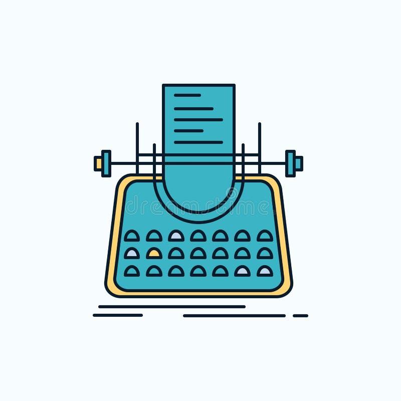 Άρθρο, blog, ιστορία, γραφομηχανή, επίπεδο εικονίδιο συγγραφέων r r διανυσματική απεικόνιση