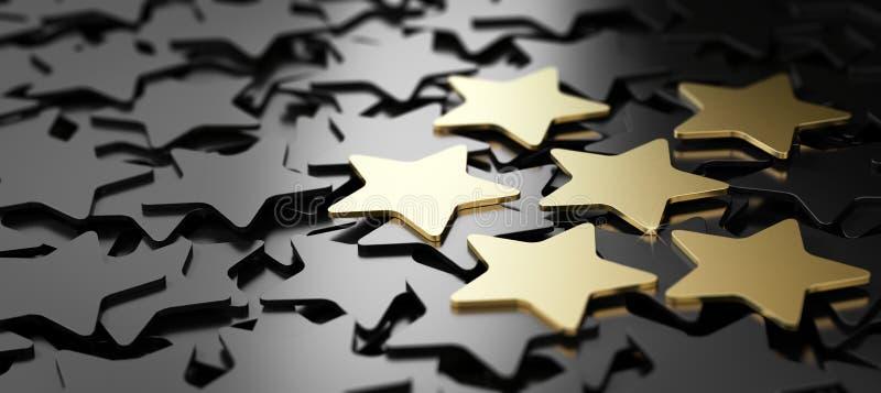 Άριστη εξυπηρέτηση πελατών, 6 χρυσά αστέρια διανυσματική απεικόνιση