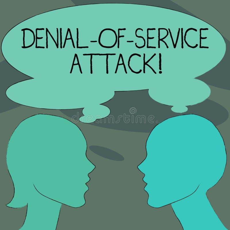 Άρνηση κειμένων γραφής της επίθεσης υπηρεσιών Η έννοια που σημαίνει την επίθεση σήμανε να διακόψει μια σκιαγραφία μηχανών ή δικτύ διανυσματική απεικόνιση
