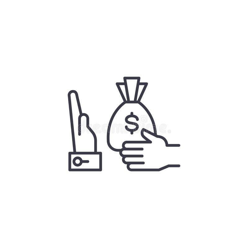 Άρνηση μιας γραμμικής έννοιας εικονιδίων δωροδοκιών Άρνηση ενός διανυσματικού σημαδιού γραμμών δωροδοκιών, σύμβολο, απεικόνιση απεικόνιση αποθεμάτων