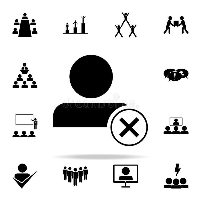 άρνηση στο εικονίδιο υπαλλήλων Καθολικό εικονιδίων ομαδικής εργασίας που τίθεται για τον Ιστό και κινητό απεικόνιση αποθεμάτων
