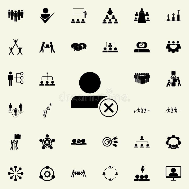 άρνηση στο εικονίδιο υπαλλήλων Καθολικό εικονιδίων ομαδικής εργασίας που τίθεται για τον Ιστό και κινητό ελεύθερη απεικόνιση δικαιώματος