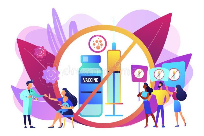 Άρνηση της διανυσματικής απεικόνισης έννοιας εμβολιασμού απεικόνιση αποθεμάτων