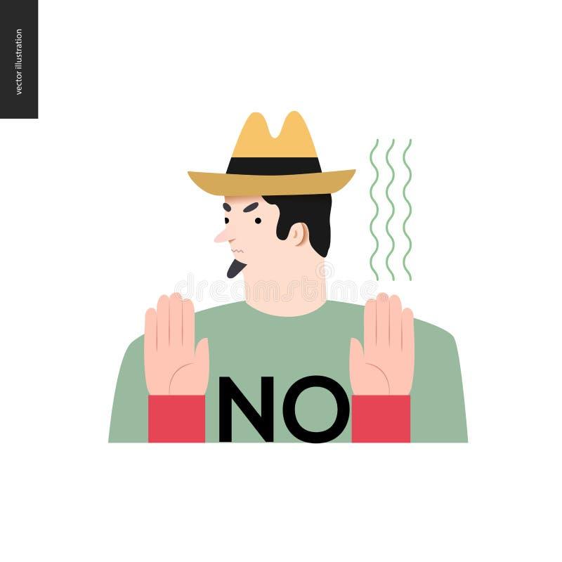 Άρνηση του ατόμου σε ένα καπέλο ελεύθερη απεικόνιση δικαιώματος