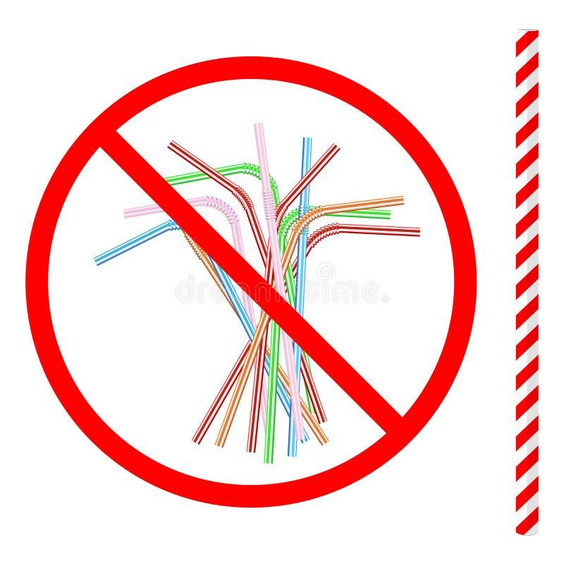 Άρνηση του μίας χρήσης πλαστικού αχύρου κατανάλωσης υπέρ του επαναχρησιμοποιήσιμου αχύρου κατανάλωσης εγγράφου ελεύθερη απεικόνιση δικαιώματος