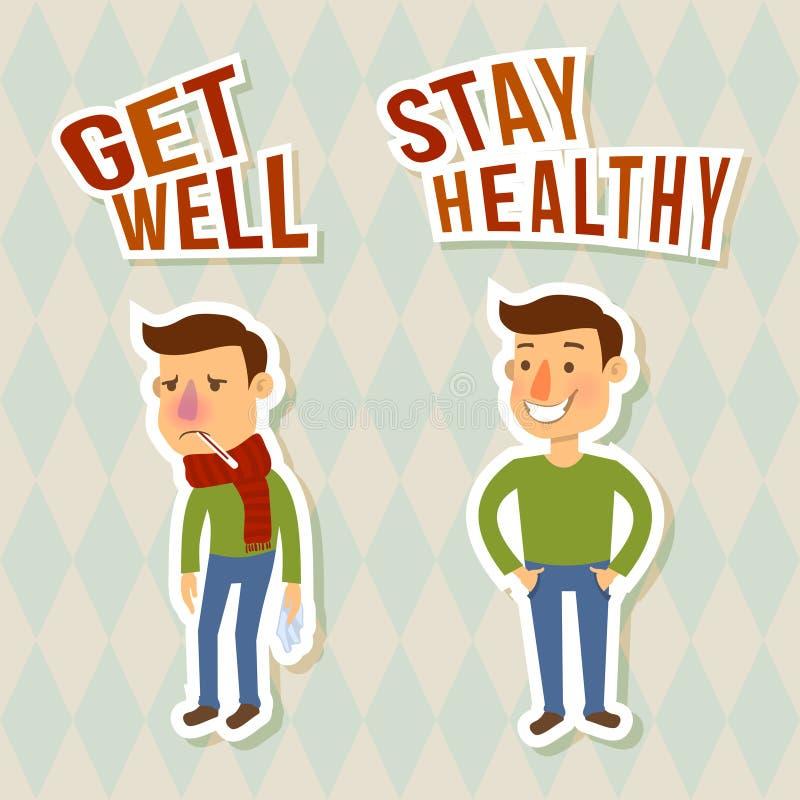Άρρωστοι και υγιείς χαρακτήρες απεικόνιση αποθεμάτων
