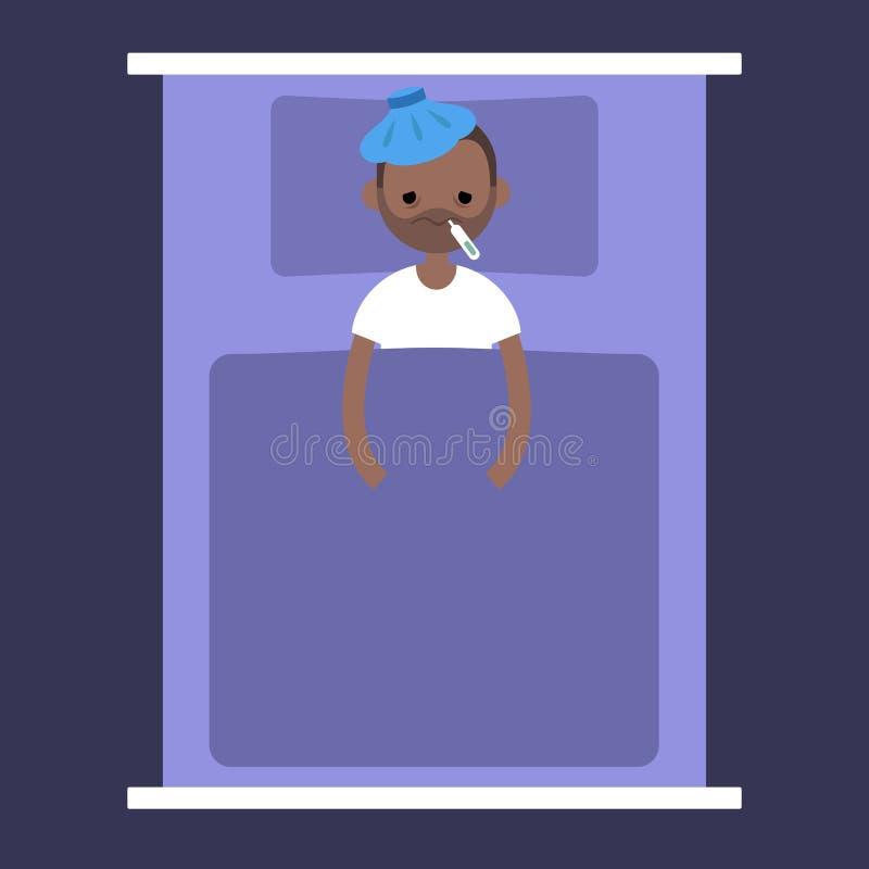 Άρρωστος μαύρος που βρίσκεται κάτω από το κάλυμμα με ένα πακέτο πάγου ελεύθερη απεικόνιση δικαιώματος