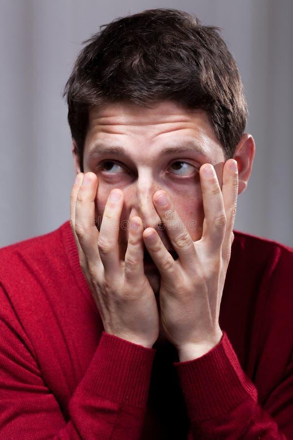 Άρρωστο άτομο απελπισίας διανοητικά στοκ φωτογραφίες