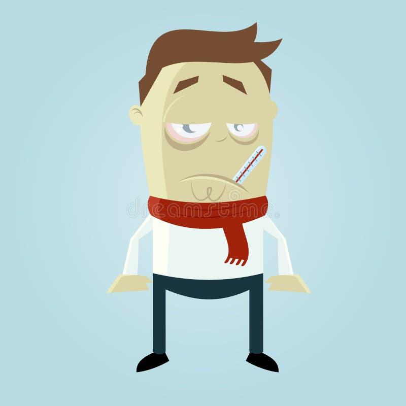 Άρρωστο άτομο κινούμενων σχεδίων διανυσματική απεικόνιση