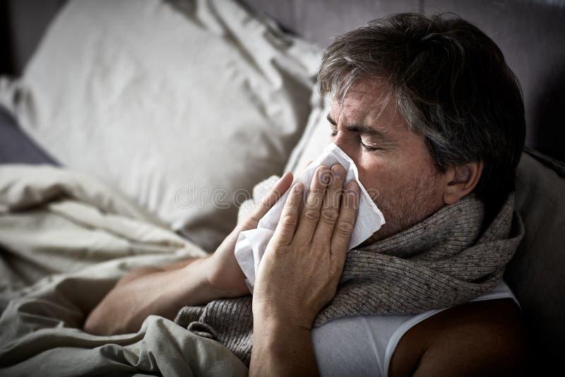 Άρρωστο άτομο με το κρύο που βρίσκεται στο κρεβάτι και τη μύτη χτυπήματος στοκ εικόνες με δικαίωμα ελεύθερης χρήσης