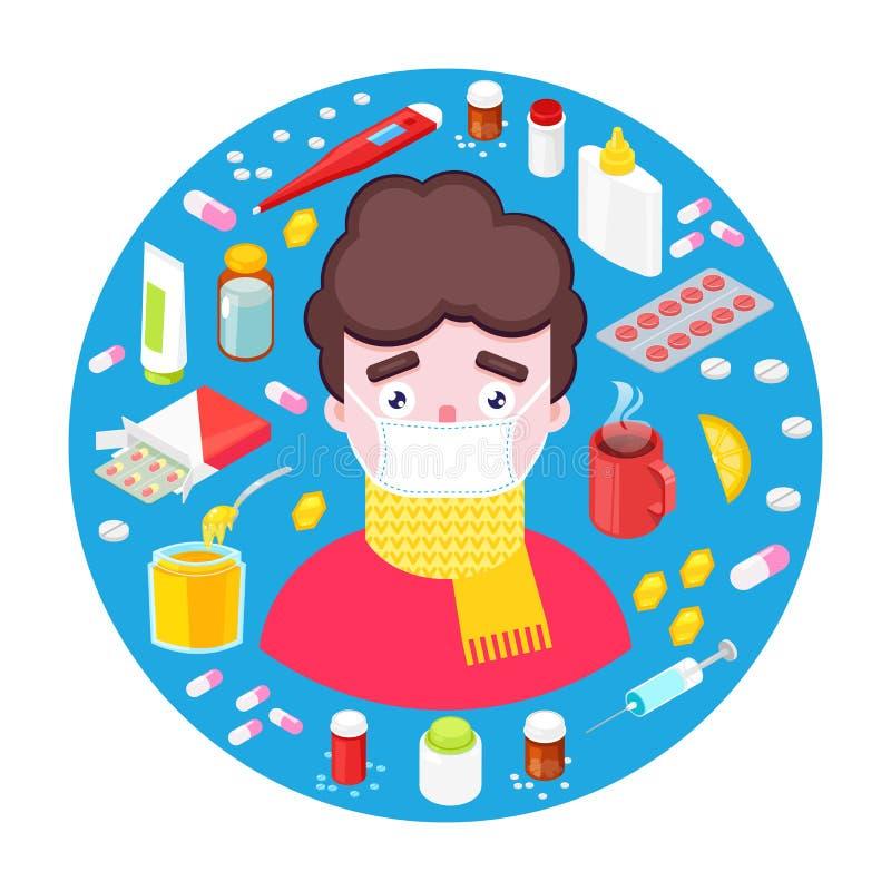 Άρρωστο αγόρι με τα φάρμακα απεικόνιση αποθεμάτων