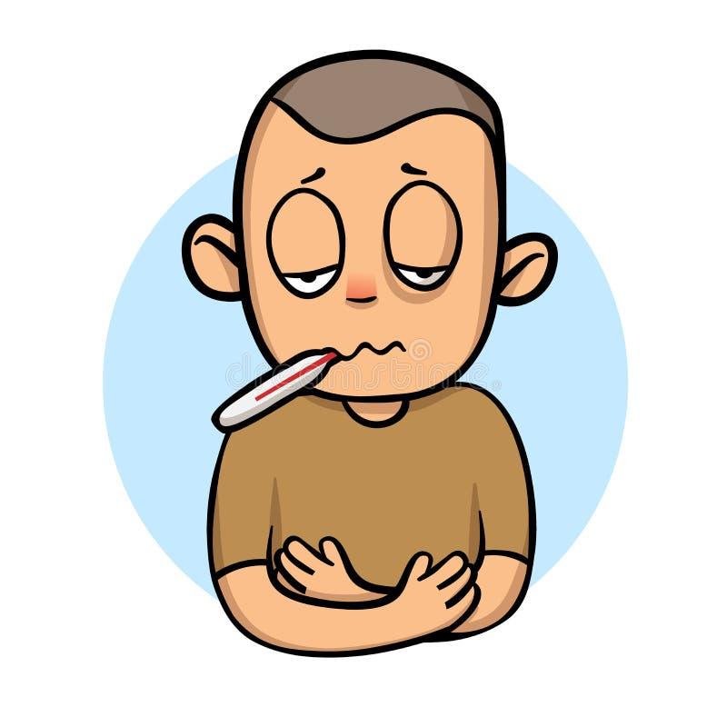 Άρρωστο αγόρι παιδιών με το θερμόμετρο στο στόμα του Εικονίδιο σχεδίου κινούμενων σχεδίων Επίπεδη διανυσματική απεικόνιση Απομονω απεικόνιση αποθεμάτων