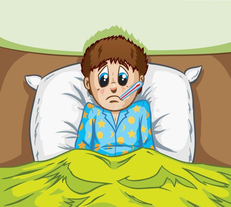 Άρρωστο αγόρι διανυσματική απεικόνιση