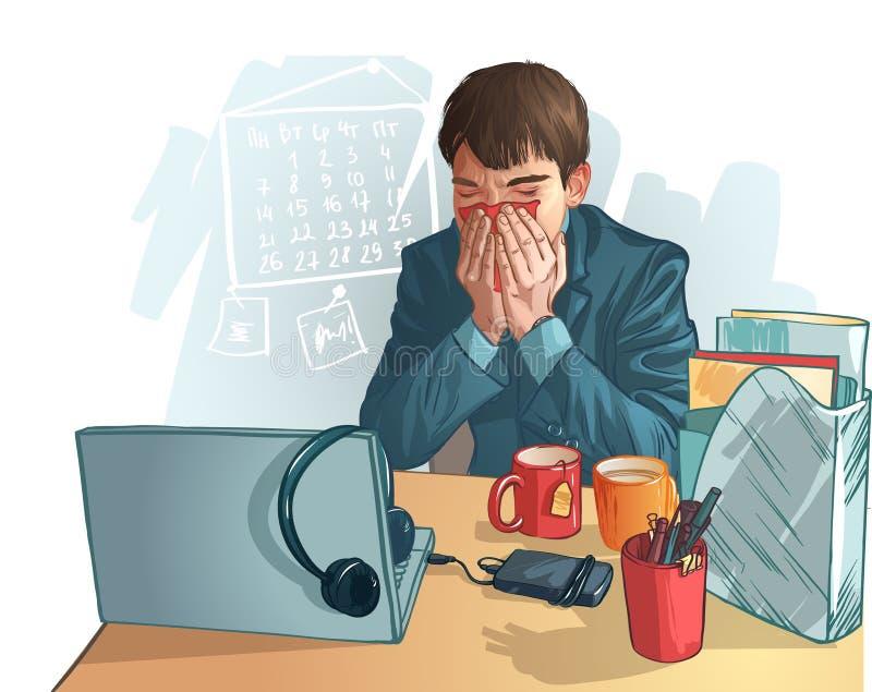 Άρρωστο επιχειρησιακό άτομο. κινούμενα σχέδια γραφικά απεικονίζοντας ένα άρρωστο άτομο διανυσματική απεικόνιση