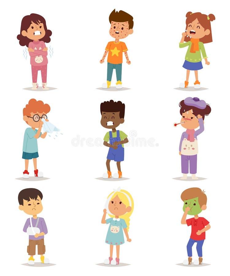 Άρρωστο διανυσματικό σύνολο παιδιών ελεύθερη απεικόνιση δικαιώματος