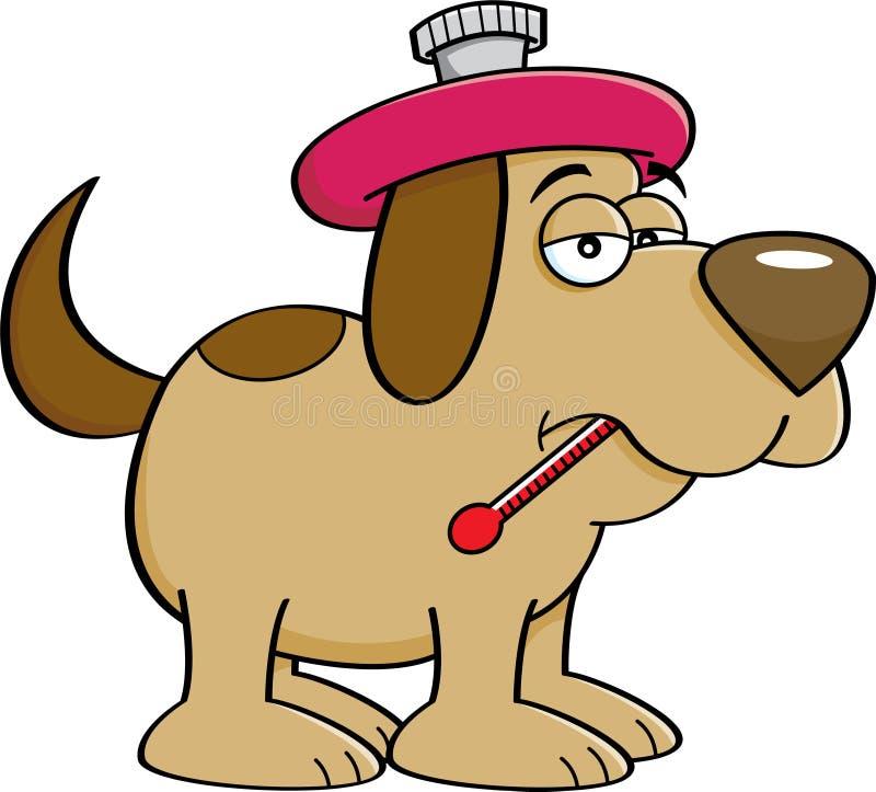 Άρρωστο σκυλί κινούμενων σχεδίων με ένα θερμόμετρο ελεύθερη απεικόνιση δικαιώματος