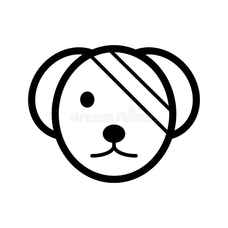 Άρρωστο χαριτωμένο απλό διανυσματικό εικονίδιο σκυλιών Γραπτή απεικόνιση του σκυλιού με το επιδεμένο μάτι Γραμμικό κτηνιατρικό ει διανυσματική απεικόνιση