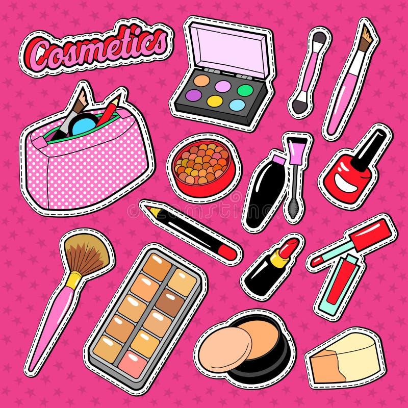 Άρωμα Doodle καλλυντικών με τη βούρτσα, Lipstic και τη σκιά ματιών Αυτοκόλλητες ετικέττες, διακριτικό και μπάλωμα ομορφιάς μόδας  απεικόνιση αποθεμάτων