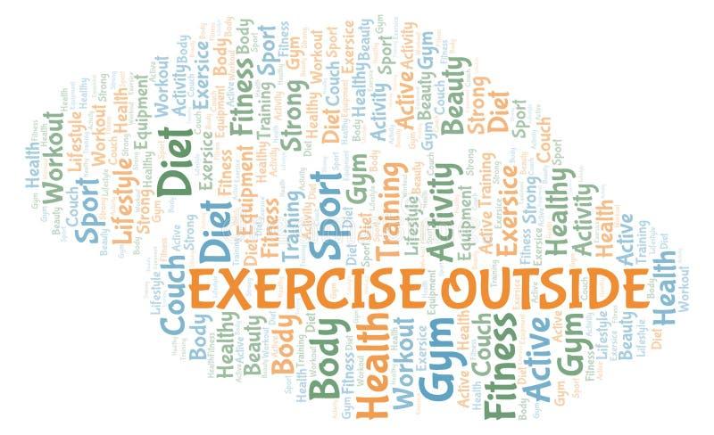 Άσκηση έξω από το σύννεφο λέξης διανυσματική απεικόνιση