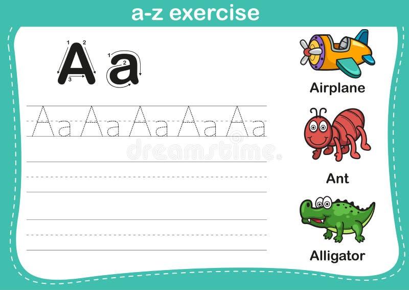 Άσκηση αλφάβητου AZ με την απεικόνιση λεξιλογίου κινούμενων σχεδίων διανυσματική απεικόνιση