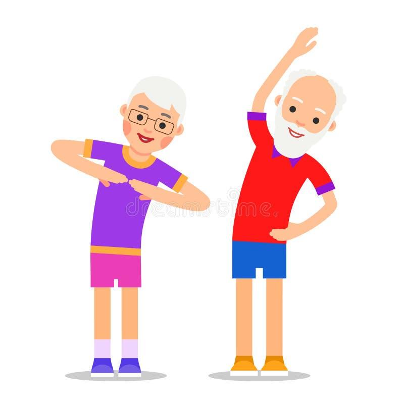 Άσκηση ηλικιωμένου ανθρώπου Το ηλικιωμένο ζεύγος κάνει τη γυμναστική και τον αθλητισμό απεικόνιση αποθεμάτων