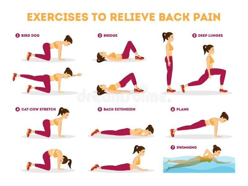 Άσκηση που τίθεται ως στόχος να ανακουφίσει τον πόνο στην πλάτη Τέντωμα και κατάρτιση ελεύθερη απεικόνιση δικαιώματος