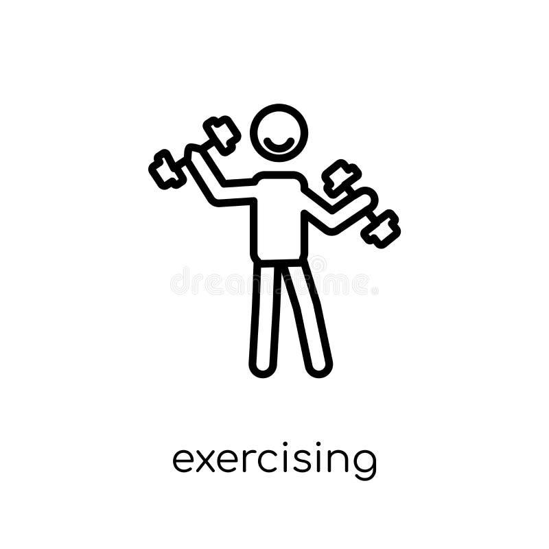 Άσκηση του εικονιδίου Καθιερώνον τη μόδα σύγχρονο επίπεδο γραμμικό διανυσματικό ico άσκησης απεικόνιση αποθεμάτων