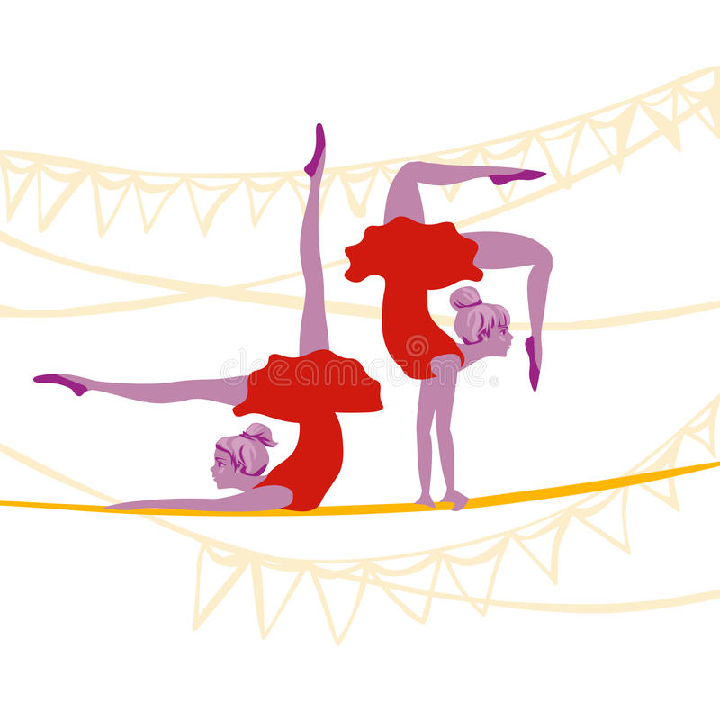 Άσκηση ballerinas ακροβατών διανυσματική απεικόνιση