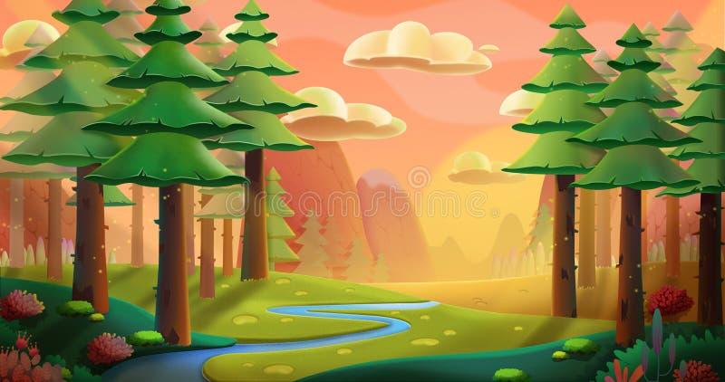 δάσος ειρηνικό διανυσματική απεικόνιση