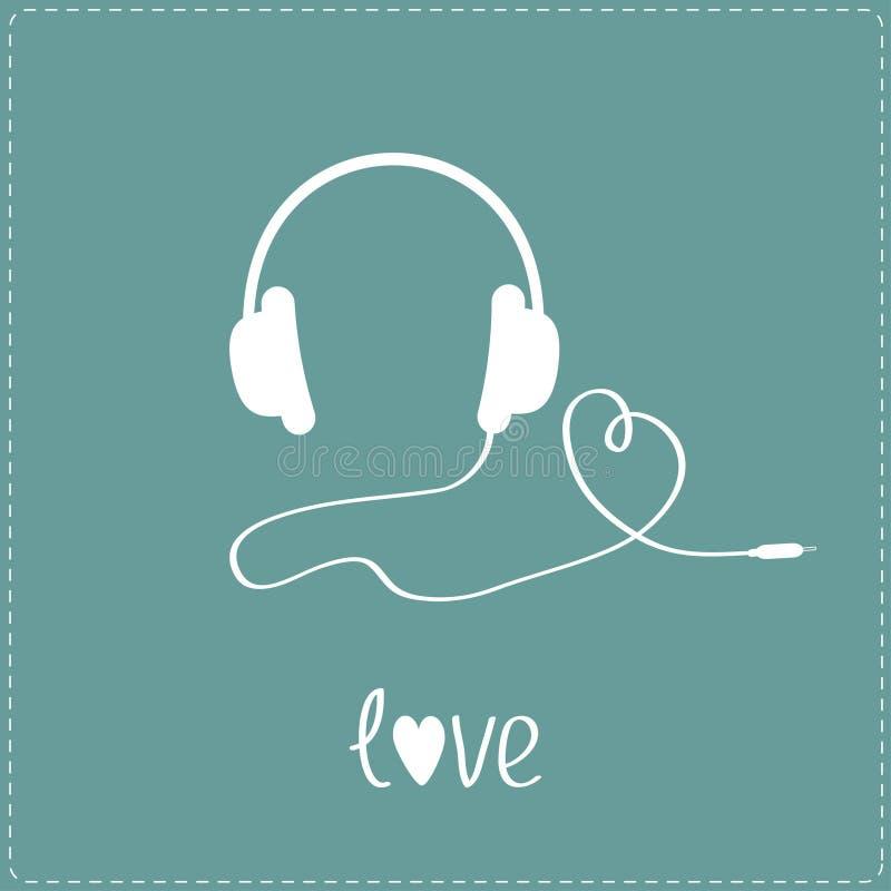 Άσπρα ακουστικά και σκοινί στη μορφή της καρδιάς.  Μπλε υπόβαθρο. απεικόνιση αποθεμάτων