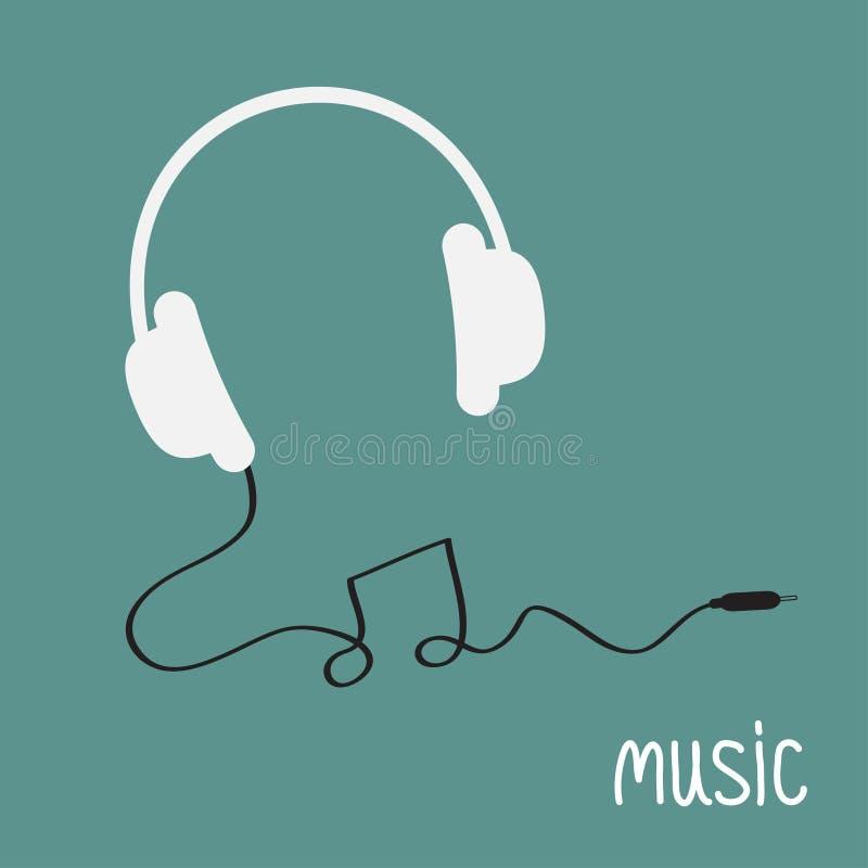 Άσπρα ακουστικά με το μαύρο σκοινί στη μορφή της κάρτας υποβάθρου μουσικής λέξης σημειώσεων Επίπεδο σχέδιο διανυσματική απεικόνιση