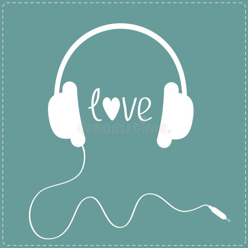 Άσπρα ακουστικά με το σκοινί. Γραμμή εξόρμησης.  Κάρτα αγάπης. διανυσματική απεικόνιση