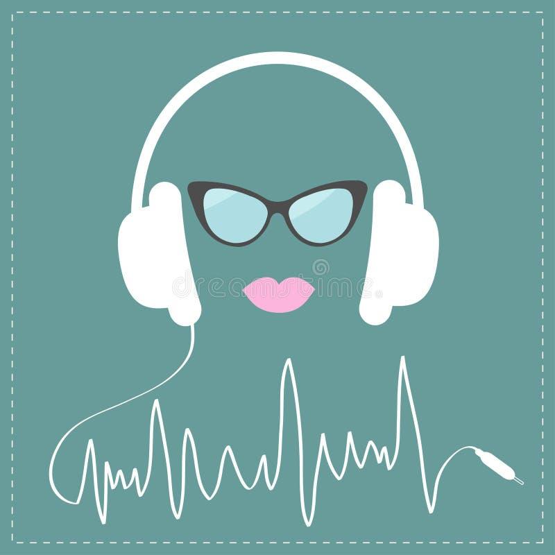 Άσπρα ακουστικά με το ψηφιακό σκοινί μορφής γραμμών διαδρομής Γυαλιά ηλίου και ροζ κάρτα μουσικής χειλικής αγάπης Επίπεδο σχέδιο απεικόνιση αποθεμάτων