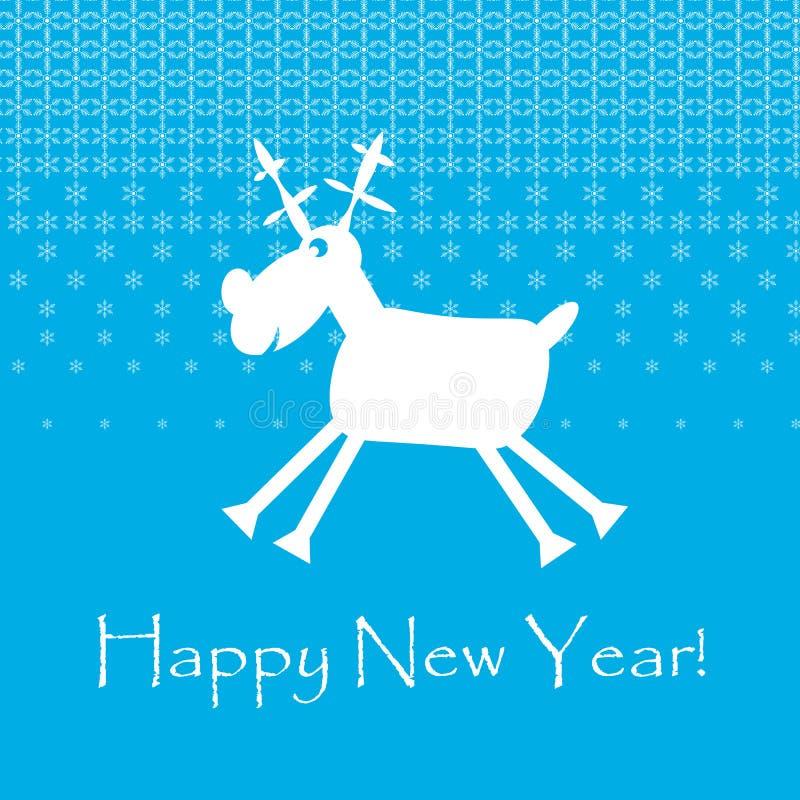 Άσπρα αστεία ελάφια Cristmas με snowflakes invitation new year ελεύθερη απεικόνιση δικαιώματος