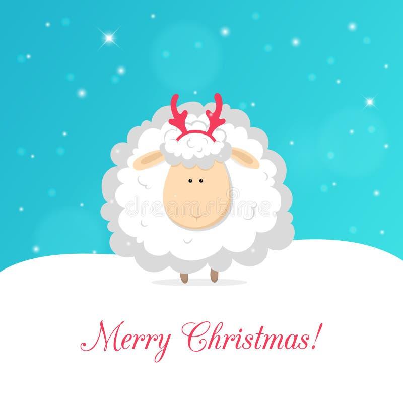 Άσπρα αστεία πρόβατα που απομονώνονται στο μπλε υπόβαθρο ανασκόπησης bokeh καρτών Χριστουγέννων χνουδωτό χαιρετισμού φυσικό διάνυ απεικόνιση αποθεμάτων