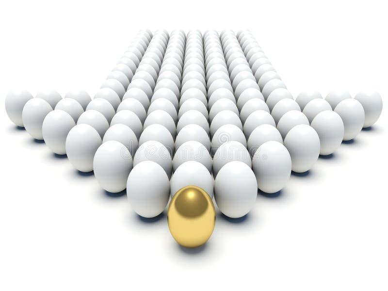 Άσπρα αυγά που ευθυγραμμίζονται διαμόρφωση ενός βέλους με το χρυσό αυγό διανυσματική απεικόνιση