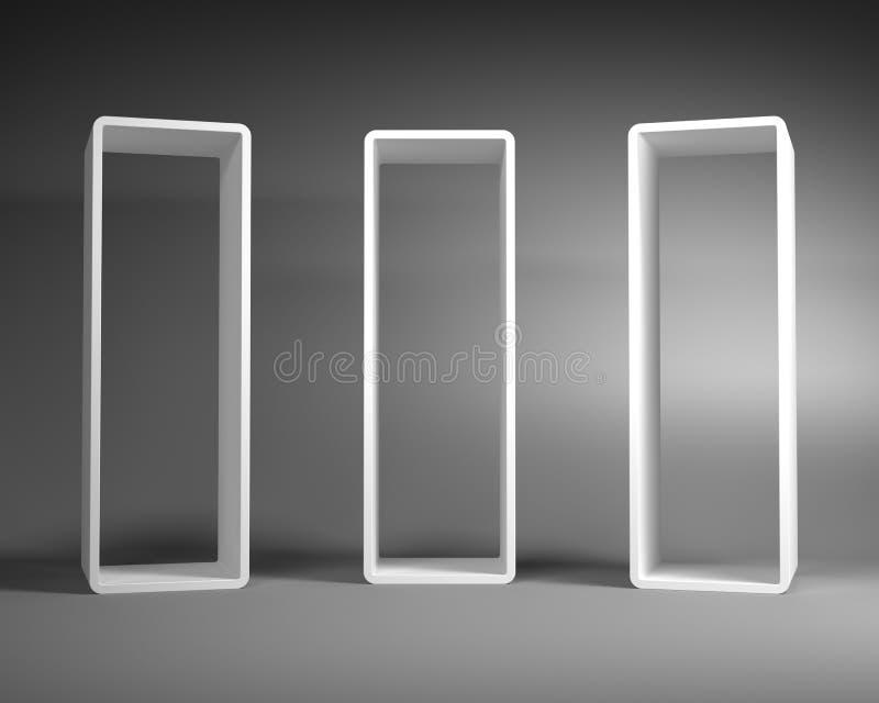 Άσπρα αφηρημένα πλαίσια ορθογωνίων που στέκονται στο γκρίζο δωμάτιο απεικόνιση αποθεμάτων