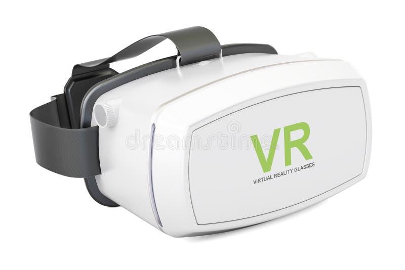 Άσπρα γυαλιά εικονικής πραγματικότητας, τρισδιάστατη απόδοση διανυσματική απεικόνιση