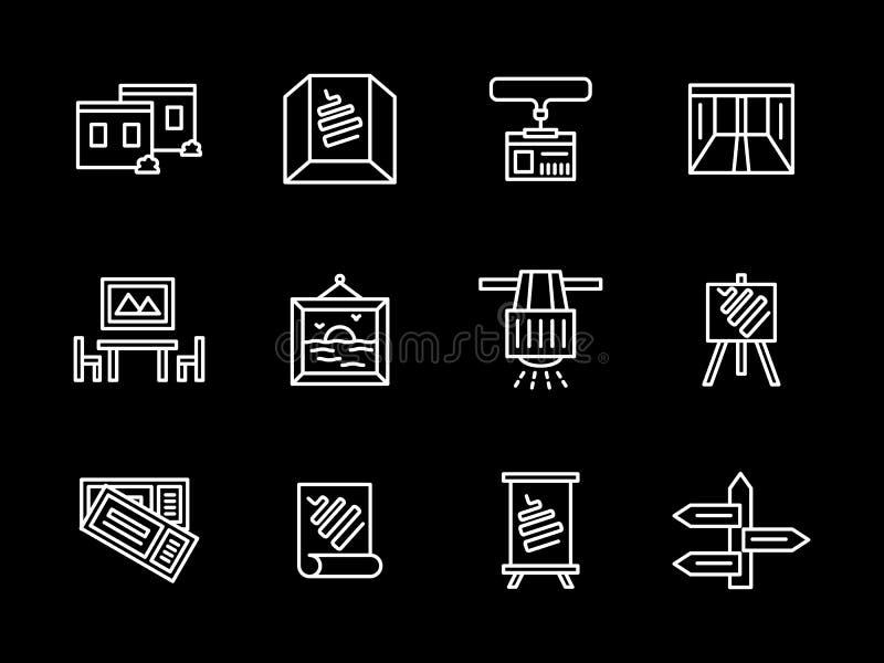 Άσπρα εικονίδια γραμμών αιθουσών εκθέσεως τέχνης καθορισμένα απεικόνιση αποθεμάτων