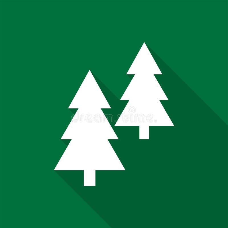 Άσπρα εικονίδια κωνοφόρων δέντρων με τη μακριά σκιά στο πράσινο υπόβαθρο διανυσματική απεικόνιση