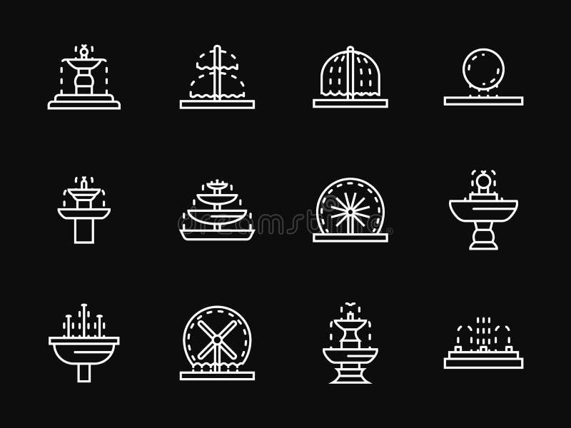 Άσπρα εικονίδια αρχιτεκτονικής πηγών γραμμών ελεύθερη απεικόνιση δικαιώματος