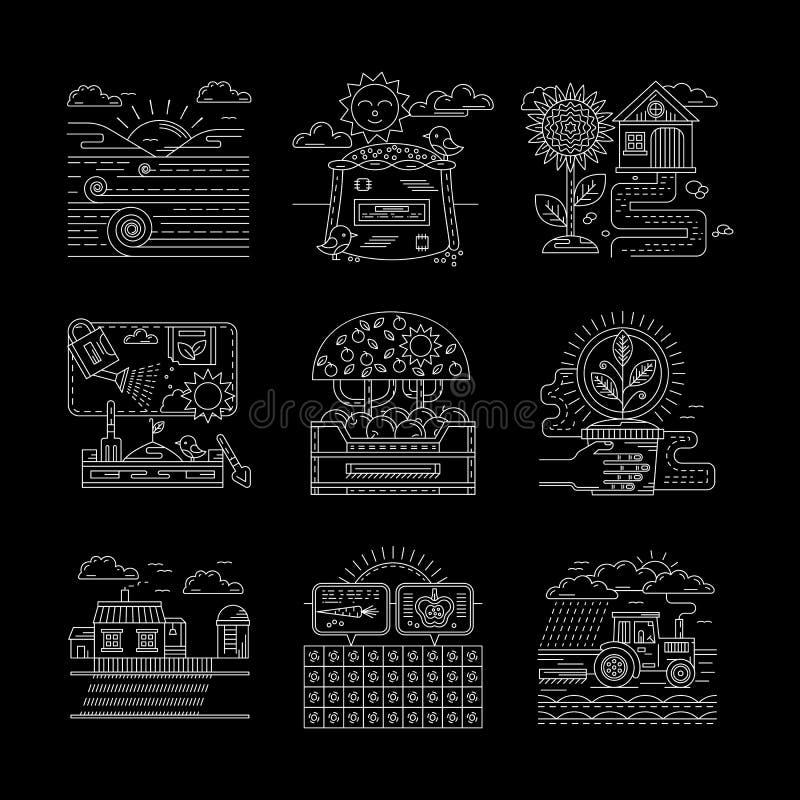 Άσπρα εικονίδια γραμμών γεωργίας καθορισμένα διανυσματική απεικόνιση