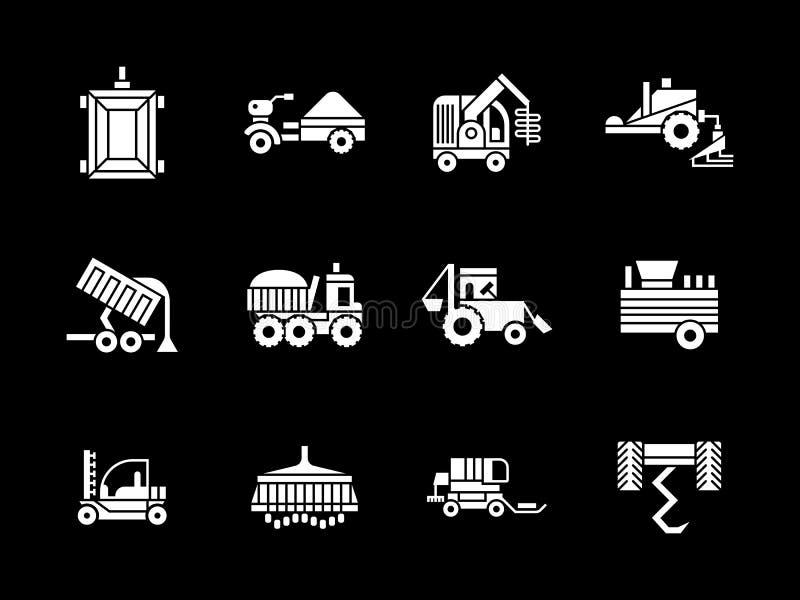 Άσπρα εικονίδια οχημάτων γεωργίας glyph ελεύθερη απεικόνιση δικαιώματος