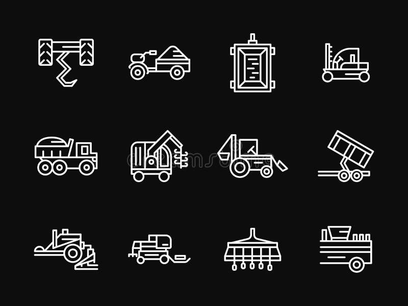 Άσπρα εικονίδια σχεδίου γραμμών μηχανών καλλιέργειας ελεύθερη απεικόνιση δικαιώματος