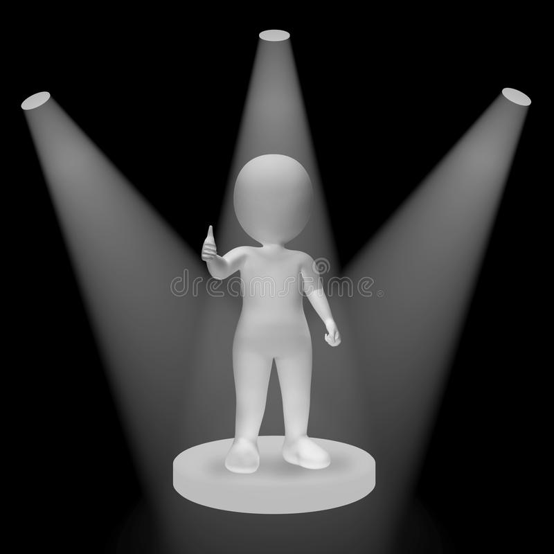 Άσπρα επίκεντρα στο χαρακτήρα που παρουσιάζει τη φήμη και Performan επιτυχίας ελεύθερη απεικόνιση δικαιώματος