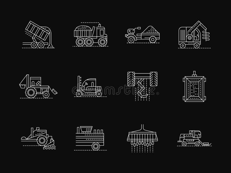 Άσπρα επίπεδα εικονίδια γραμμών μηχανών αγρονομίας διανυσματική απεικόνιση